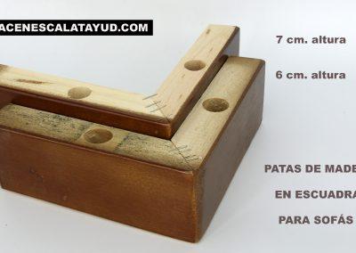 Pata de madera escuadra 6 y 7 cms