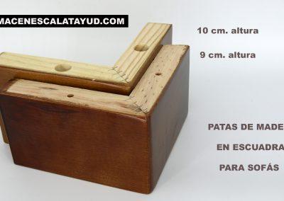 Pata de madera escuadra 9 y 10 cms